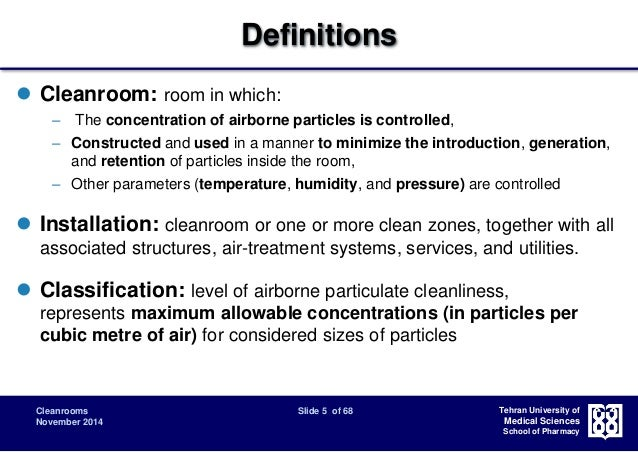 Cleanroom Classification Design And