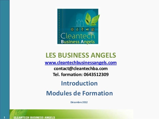 LES BUSINESS ANGELS    www.cleantechbusinessangels.com      contact@cleantechba.com      Tel. formation: 0643512309       ...
