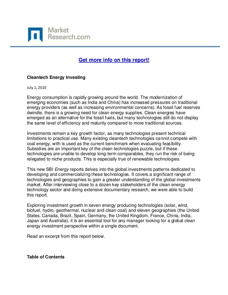 Get more info on this report!Cleantech Energy InvestingJuly 1, 2010Energy consumption is rapidly growing around the world....