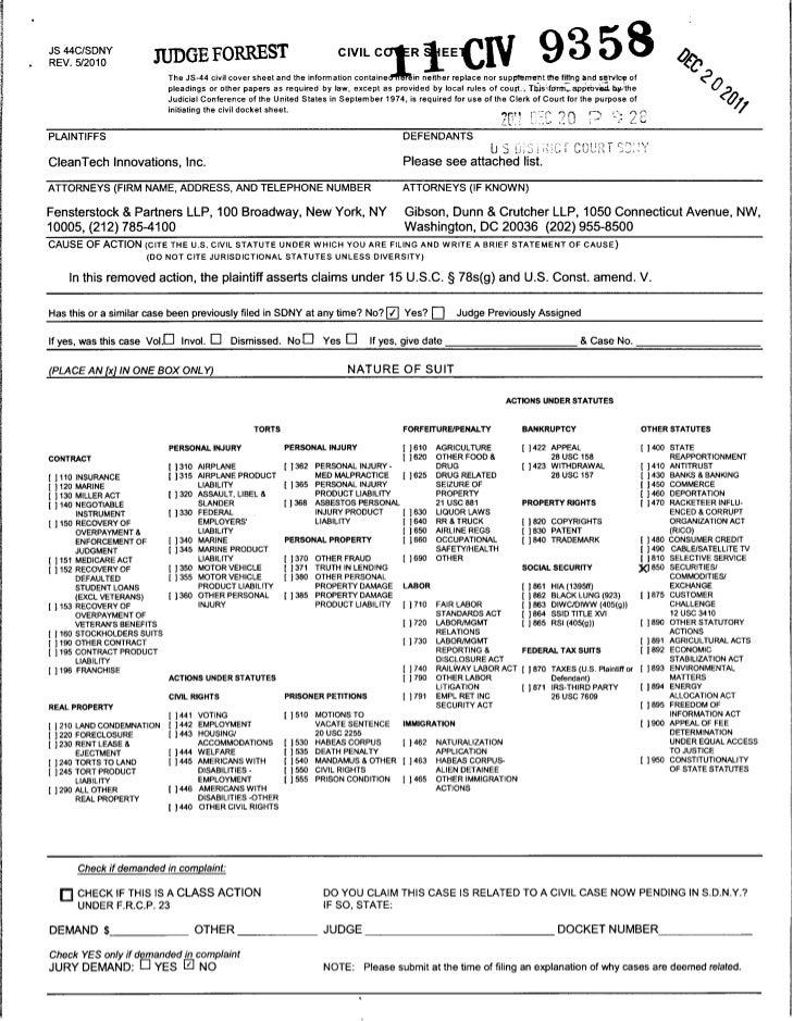 JS 44C/SDNYREV. 5/2010                              JUDGE FORREST                                        civil c      °fRl...