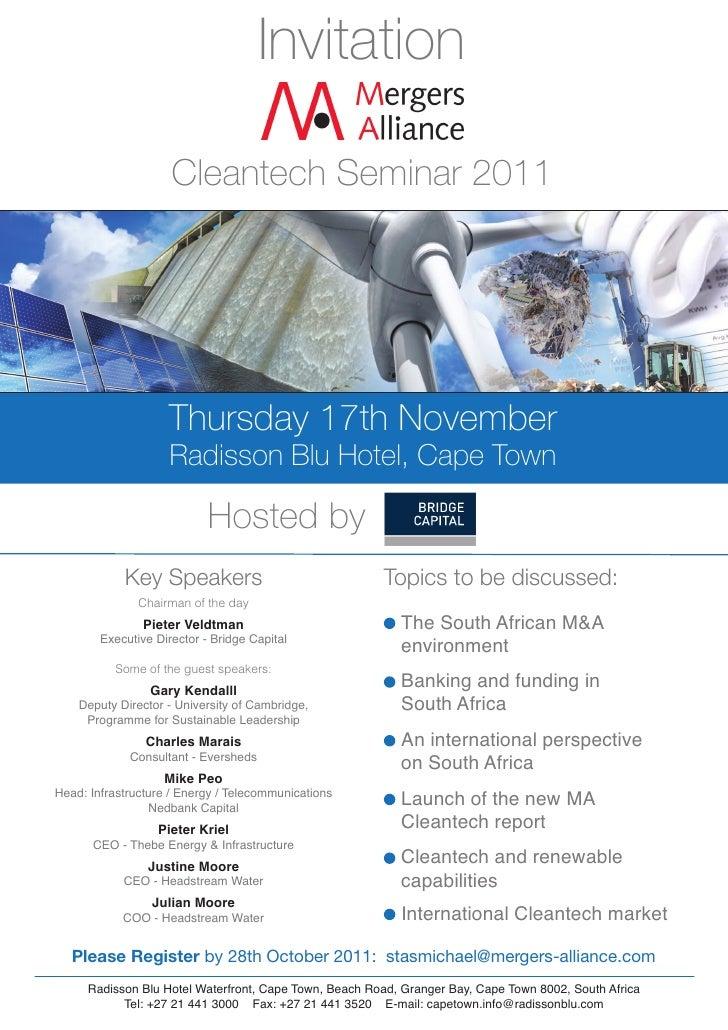 Invitation                     Cleantech Seminar 2011                    Thursday 17th November                     Radiss...
