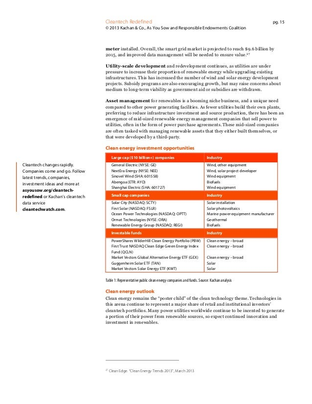 Cleantech Redefined  pg. 15  © 2013 Kachan & Co., As You Sow and Responsible Endowments Coalition  meter installed. Overal...