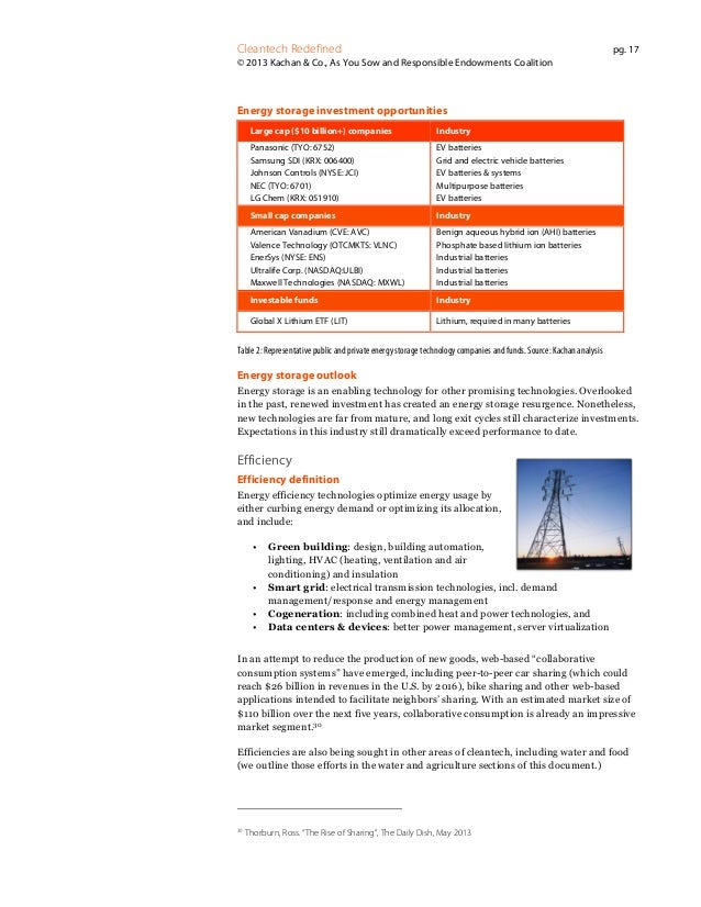 Cleantech Redefined  pg. 17  © 2013 Kachan & Co., As You Sow and Responsible Endowments Coalition  Energy storage investme...