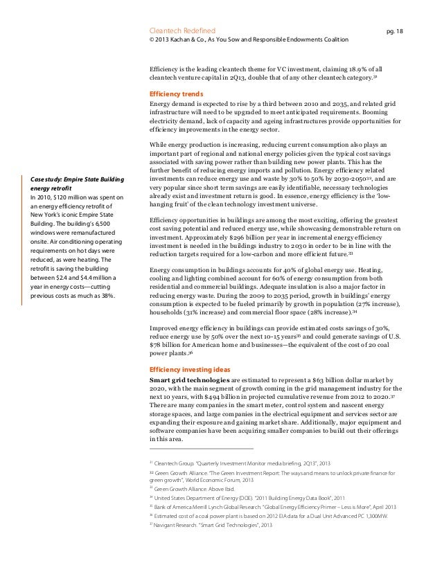 Cleantech Redefined  pg. 18  © 2013 Kachan & Co., As You Sow and Responsible Endowments Coalition  Efficiency is the leadi...