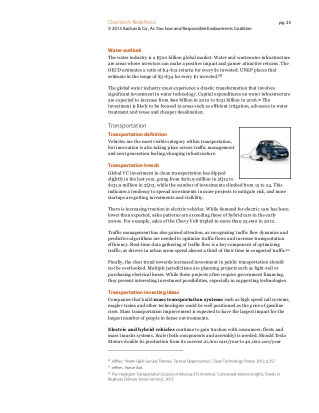Cleantech Redefined  pg. 23  © 2013 Kachan & Co., As You Sow and Responsible Endowments Coalition  Water outlook The water...