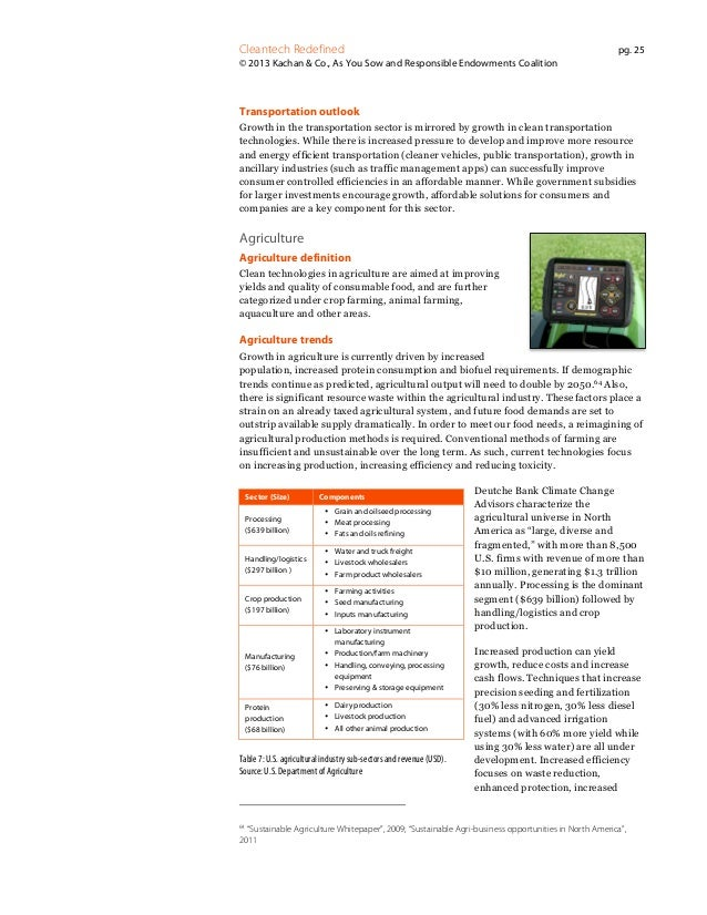 Cleantech Redefined  pg. 25  © 2013 Kachan & Co., As You Sow and Responsible Endowments Coalition  Transportation outlook ...