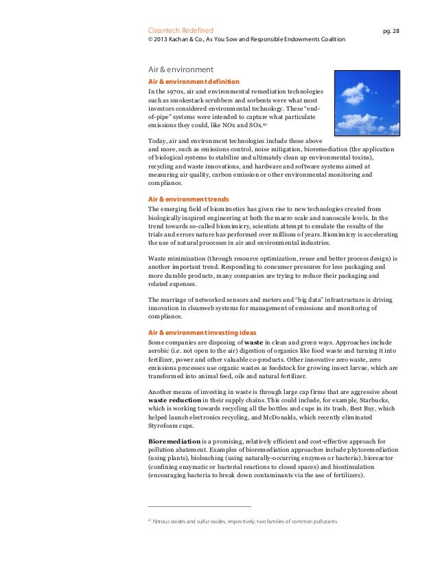 Cleantech Redefined  pg. 28  © 2013 Kachan & Co., As You Sow and Responsible Endowments Coalition  Air & environment Air &...