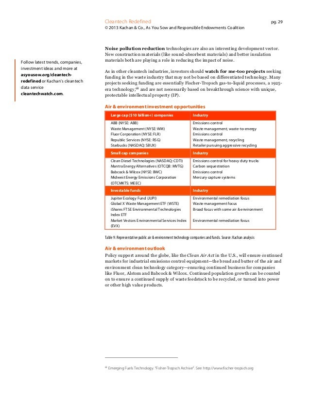 Cleantech Redefined  pg. 29  © 2013 Kachan & Co., As You Sow and Responsible Endowments Coalition  Follow latest trends, c...