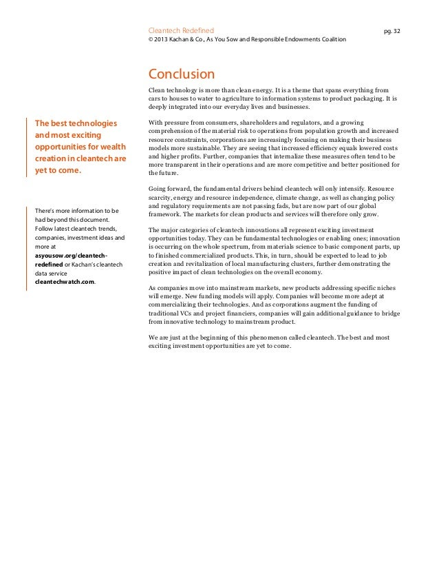 Cleantech Redefined  pg. 32  © 2013 Kachan & Co., As You Sow and Responsible Endowments Coalition  Conclusion Clean techno...