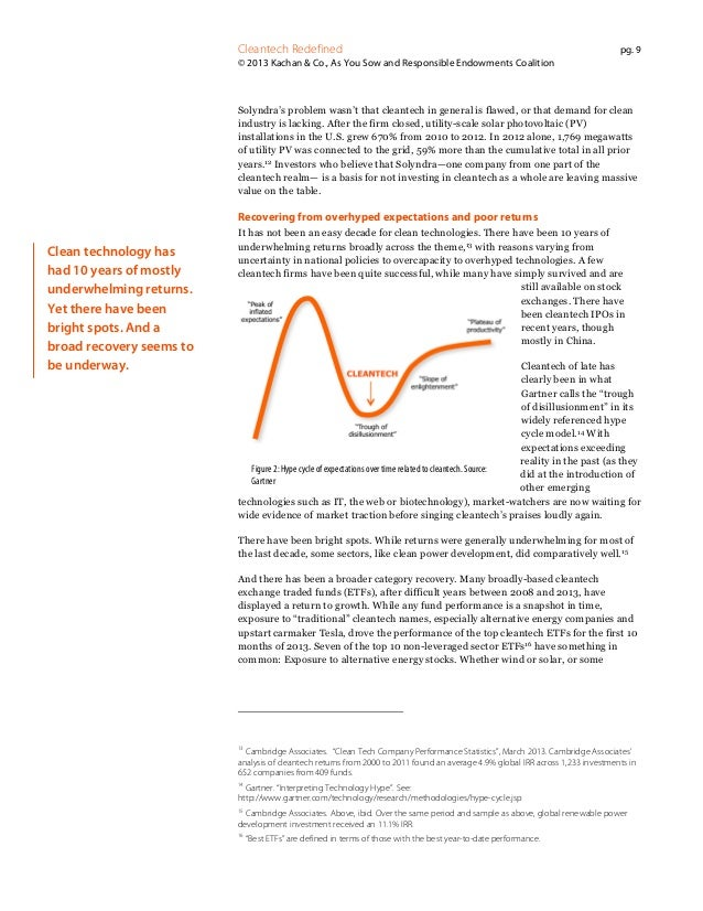 Cleantech Redefined  pg. 9  © 2013 Kachan & Co., As You Sow and Responsible Endowments Coalition  Solyndra's problem wasn'...