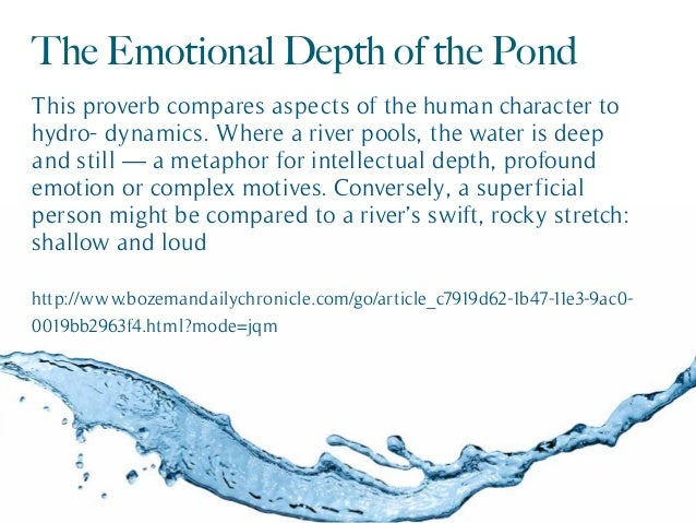 The Emotional Depth of the Pond This proverb compares aspects of the human character to hydro- dynamics. Where a river poo...