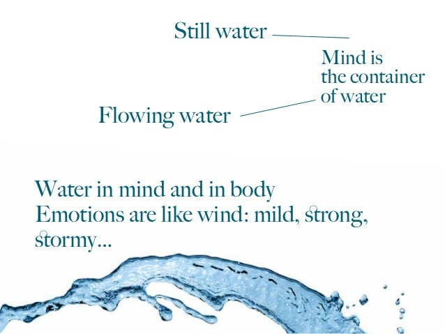 Water in mind and in body Emotions are like wind: mild, strong, stormy… Still water Flowing water Mind is the container of w...