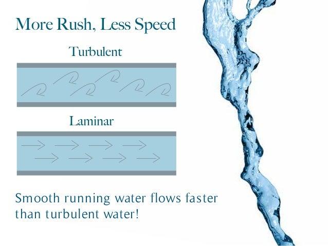 More Rush, Less Speed Smooth running water flows faster than turbulent water! Turbulent Laminar