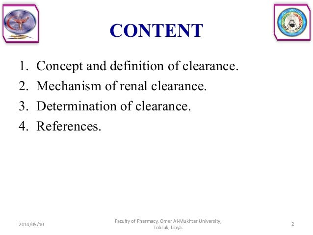 Clearance and renal excretion Slide 2