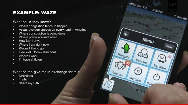 27  EXAMPLE: WAZE  What could they know?  • Where congestion tends to happen  • Actual average speeds on every road in Ame...