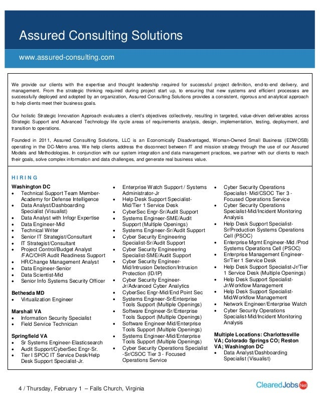 Cleared Job Fair Seeker Handbook February 1 2018 Tysons Corner