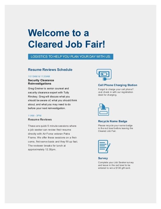 Cleared Job Fair Job Seeker Handbook Oct 5, 2017, Tysons