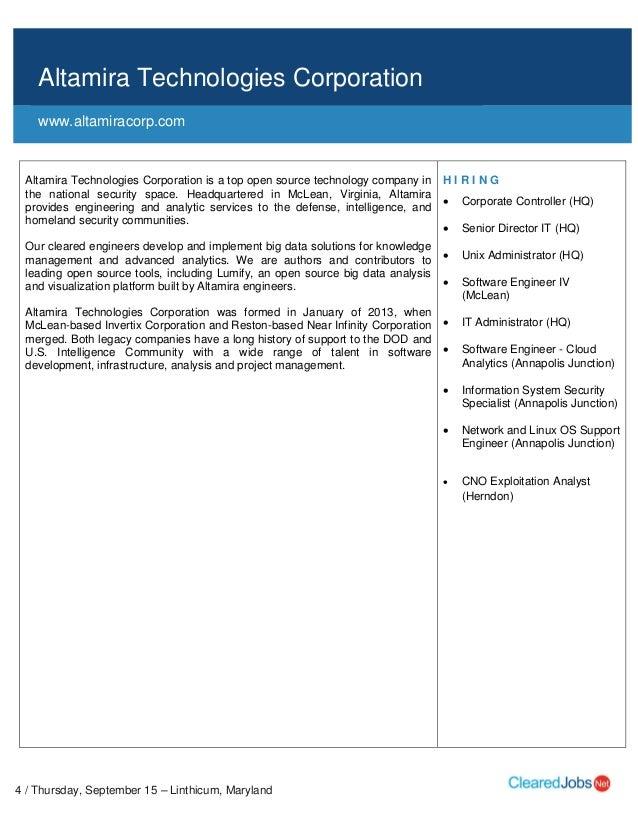 CI or FS Poly-Only Cleared Job Fair Job Seeker Handbook Sept 15, 2016, BWI,  MD