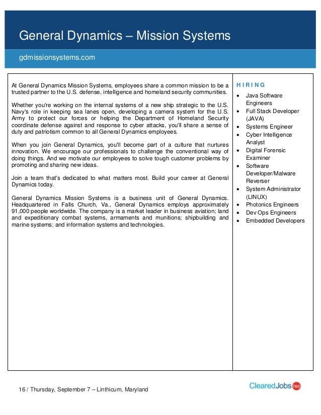 Cleared Job Fair Job Seeker Handbook Sept 7, 2017, BWI, MD