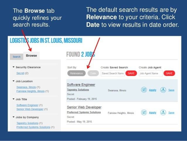 The default search results are by Relevance to your criteria. Click Date to view results in date order. The Browse tab qui...