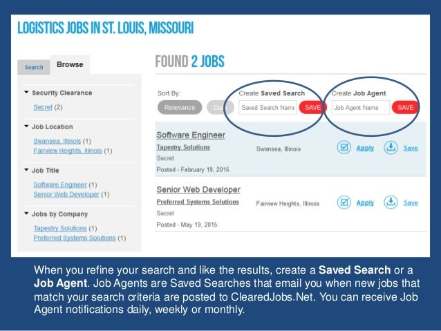 When you refine your search and like the results, create a Saved Search or a Job Agent. Job Agents are Saved Searches that...