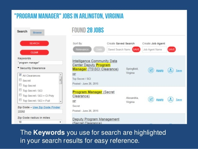 The Keywords you use for search are highlighted in your search results for easy reference.