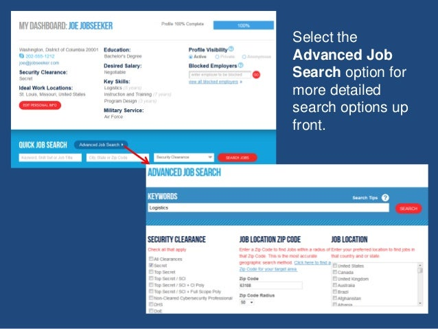 Select the Advanced Job Search option for more detailed search options up front.