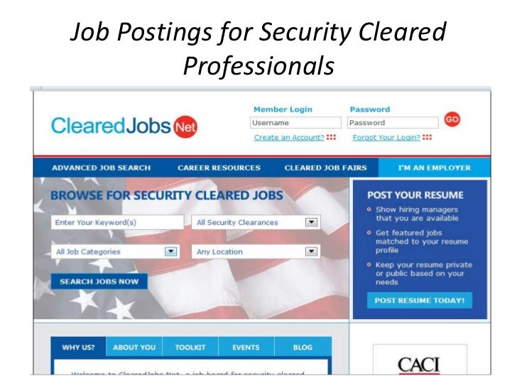 Job Postings for Security Cleared Professionals<br />