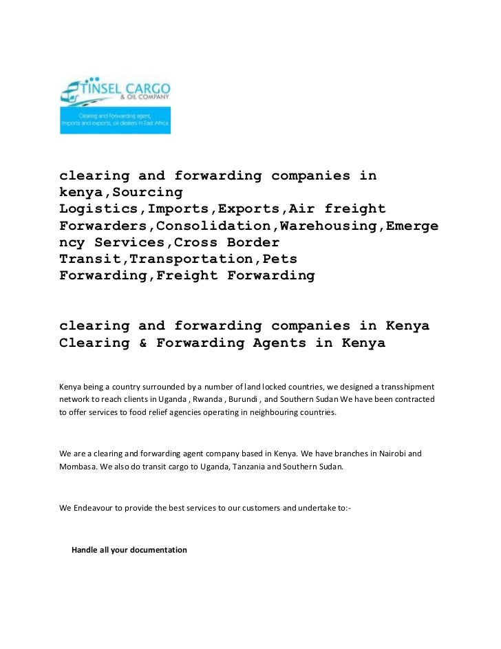clearing and forwarding companies in kenya,Sourcing Logistics,Imports,Exports,Air freight Forwarders,Consolidation,Warehou...