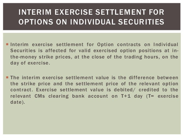 Stock index options settlement