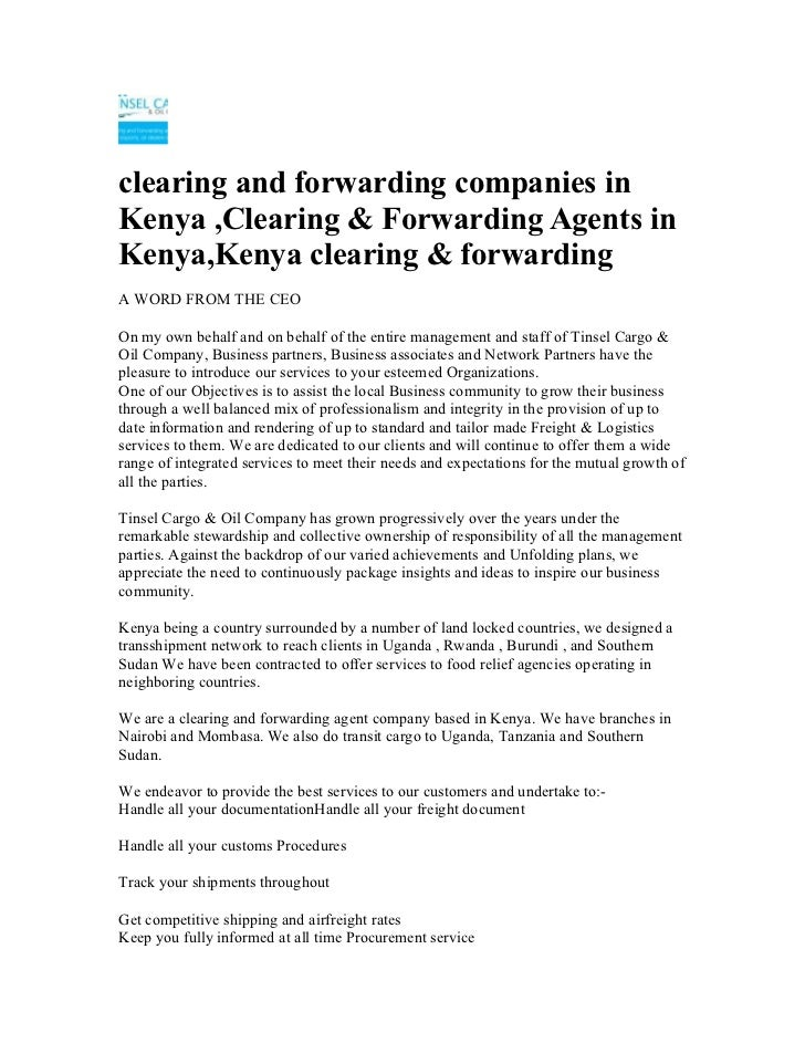 clearing and forwarding companies inKenya ,Clearing & Forwarding Agents inKenya,Kenya clearing & forwardingA WORD FROM THE...
