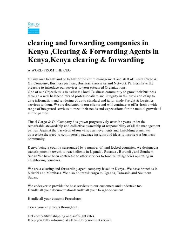 Clearing & forwarding agents in kenya,kenya clearing