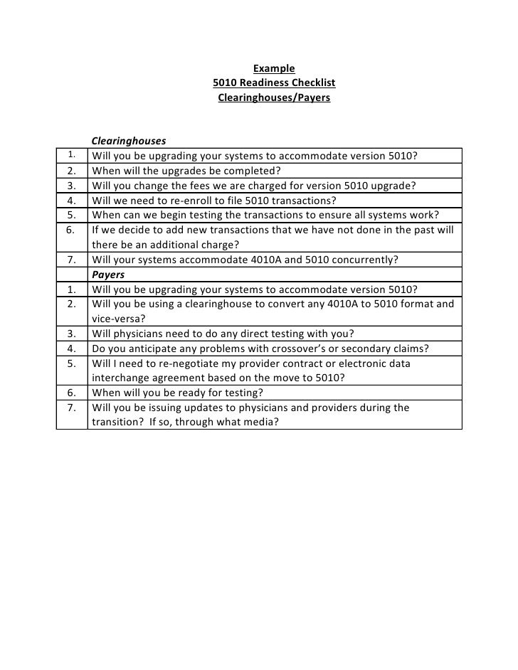 Example                               5010 Readiness Checklist                                Clearinghouses/Payers       ...