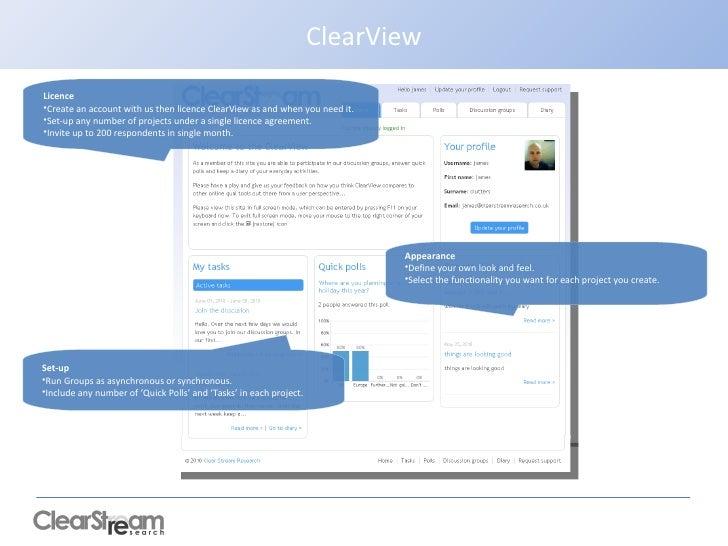 ClearView <ul><li>Appearance </li></ul><ul><li>Define your own look and feel.  </li></ul><ul><li>Select the functionality ...