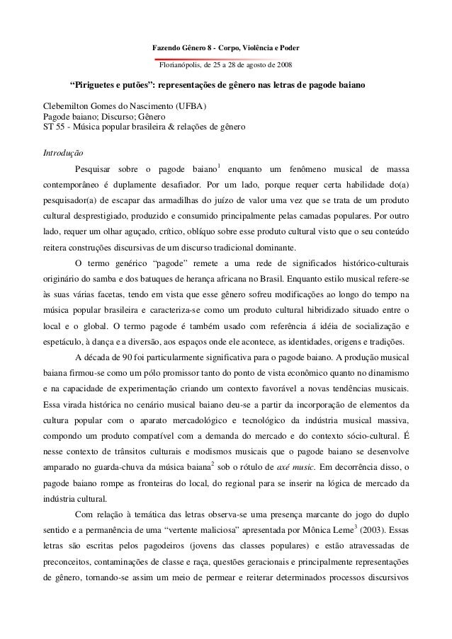 Fazendo Gênero 8 - Corpo, Violência e Poder                                Florianópolis, de 25 a 28 de agosto de 2008    ...