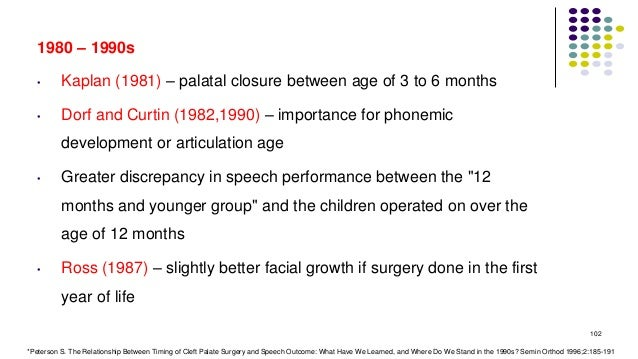 1980 – 1990s • Kaplan (1981) – palatal closure between age of 3 to 6 months • Dorf and Curtin (1982,1990) – importance for...