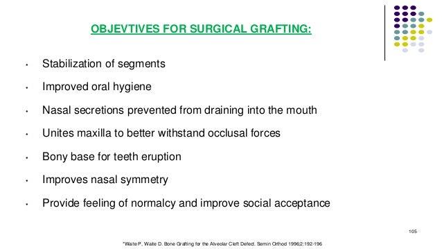 OBJEVTIVES FOR SURGICAL GRAFTING: • Stabilization of segments • Improved oral hygiene • Nasal secretions prevented from dr...