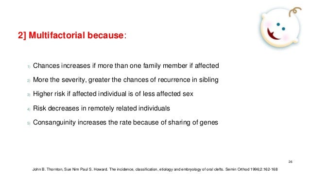 2] Multifactorial because: 1) Chances increases if more than one family member if affected 2) More the severity, greater t...