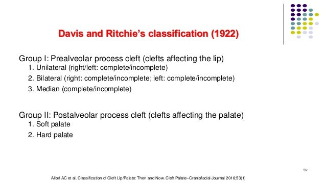 Davis and Ritchie's classification (1922) Group I: Prealveolar process cleft (clefts affecting the lip) 1. Unilateral (rig...