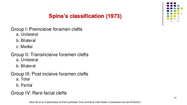 Spina's classification (1973) Group I: Preincisive foramen clefts a. Unilateral b. Bilateral c. Medial Group II: Transinci...