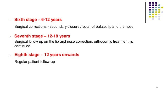 • Sixth stage – 6-12 years Surgical corrections - secondary closure /repair of palate, lip and the nose • Seventh stage – ...