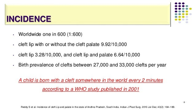 INCIDENCE • Worldwide one in 600 (1:600) • cleft lip with or without the cleft palate 9.92/10,000 • cleft lip 3.28/10,000,...