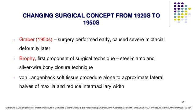 95 CHANGING SURGICAL CONCEPT FROM 1920S TO 1950S • Graber (1950s) – surgery performed early, caused severe midfacial defor...