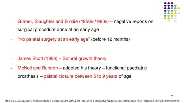 """• Graber, Slaughter and Brodie (1950s-1960s) – negative reports on surgical procedure done at an early age • """"No palatal s..."""