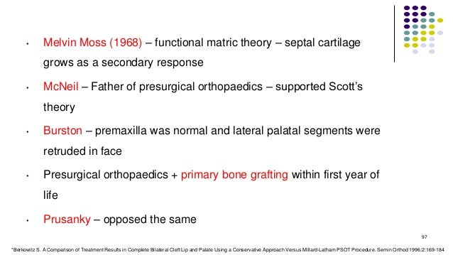 • Melvin Moss (1968) – functional matric theory – septal cartilage grows as a secondary response • McNeil – Father of pres...