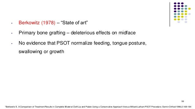 """• Berkowitz (1978) – """"State of art"""" • Primary bone grafting – deleterious effects on midface • No evidence that PSOT norma..."""