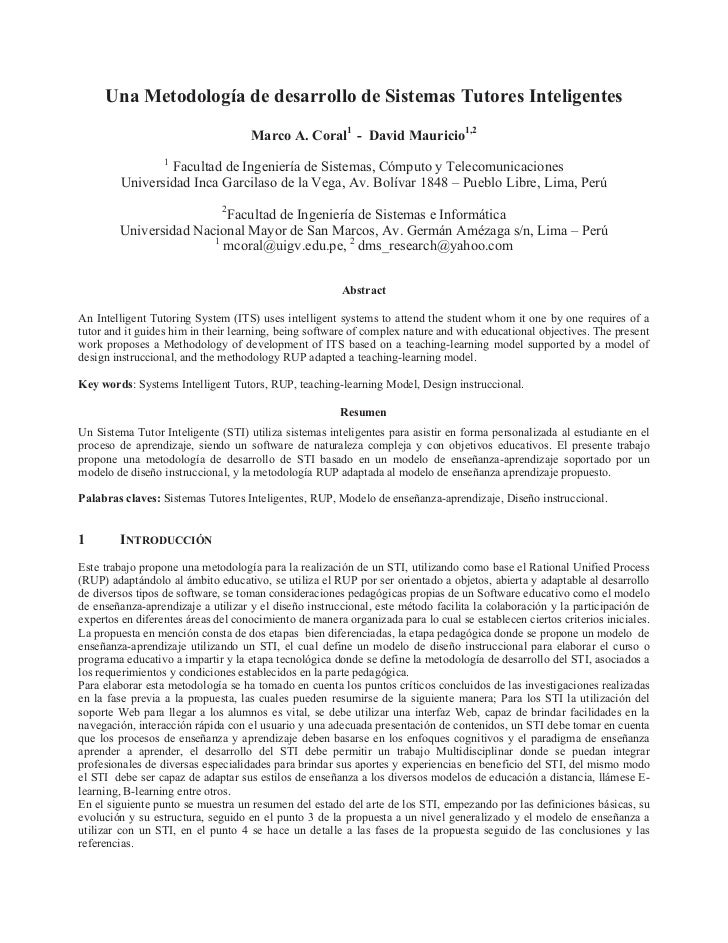 Una Metodología de desarrollo de Sistemas Tutores Inteligentes                                    Marco A. Coral1 - David ...