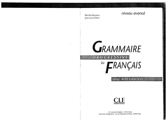 Cle international   grammaire progressive du francais avec 400 exercices - niveau avance+corriges