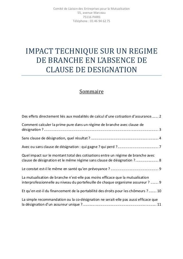 Comité de Liaison des Entreprises pour la Mutualisation 55, avenue Marceau 75116 PARIS Téléphone : 01 46 94 62 75  IMPACT ...