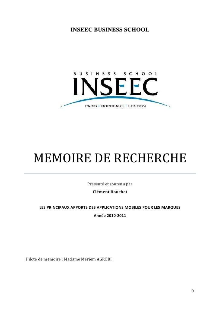 1158240121412000INSEEC BUSINESS SCHOOLMEMOIRE DE RECHERCHEPrésenté et soutenu parClément BouchetLES PRINCIPAUX APPORTS DES...